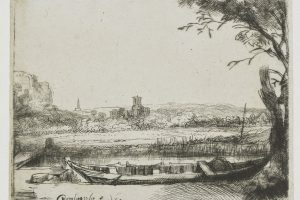 1650 Canal with a Large Boat and Bridge etching and drypoint on ivory laid paper 8.3 x 10.9 cm (plate) Art Institute of Chicago IL